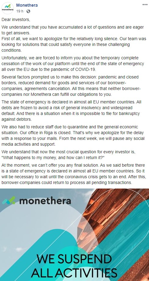 Facebook Exit Scam Monethera